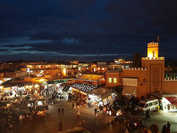 Place Jemaa-el-Fna de nuit, Marrakech