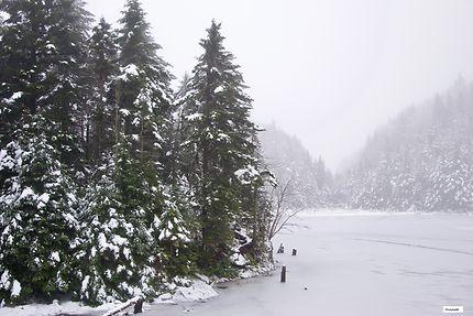Lac gelé, au Mont Sutton