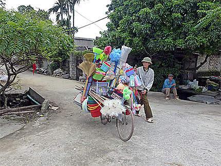 Vélo bien garni d'articles ménagers