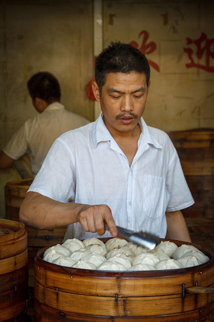 Stand de baozi en Chine