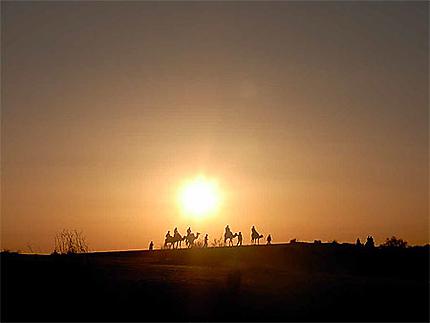 Coucher de soleil dans les dunes de Nefta
