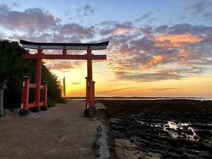 Lever de soleil sur Torii Aoshima Shrine