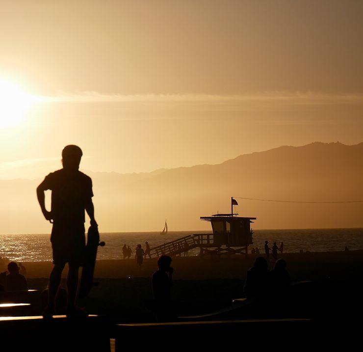 Venice Beach au coucher de soleil, Californie