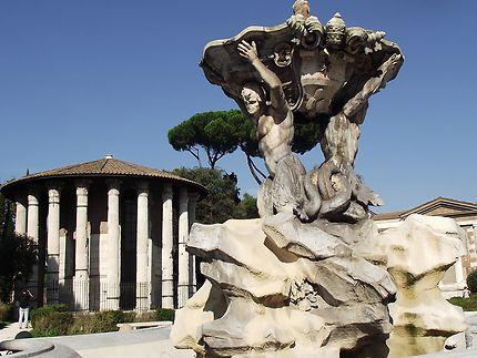 Fontaine et temple à Rome