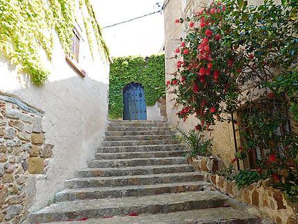 Escaliers et porte bleue