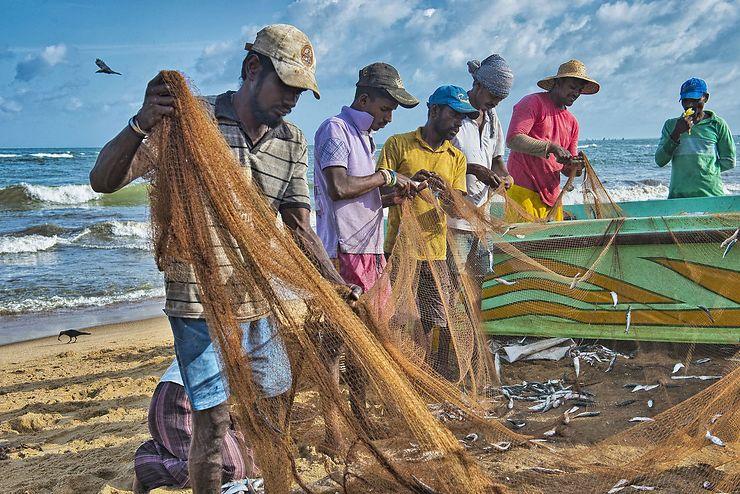 Pêcheurs à Négombo, Sri Lanka
