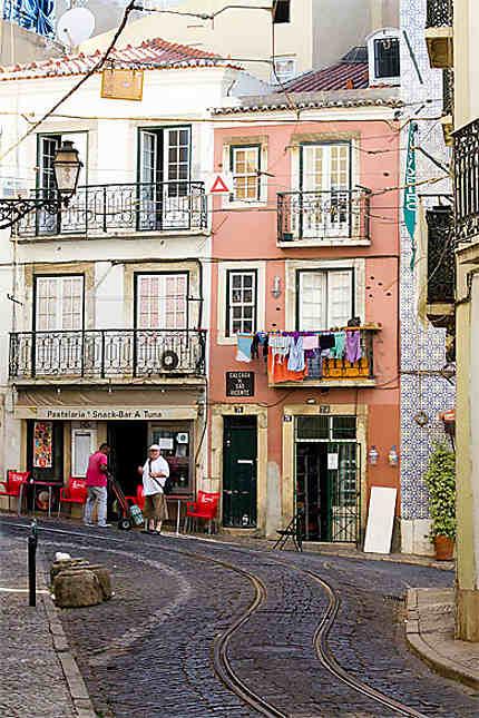Lisbonne - Alfama - Façades de la Calçada de Sao Vicente
