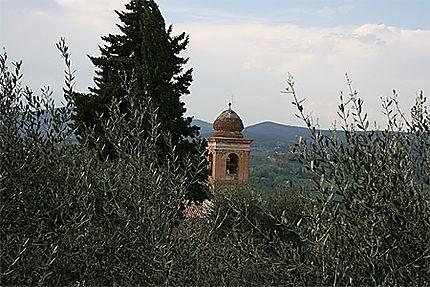 Clocher dans les oliviers