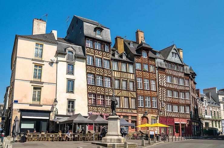 Les rues piétonnes du centre historique de Rennes