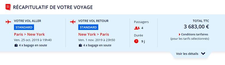 Durée de vol paris new york