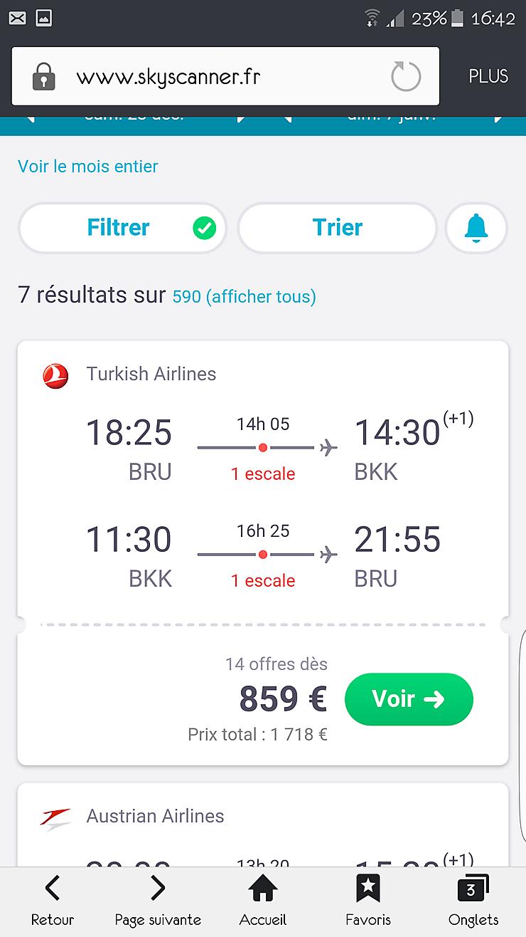 prix billet avion thailande decembre