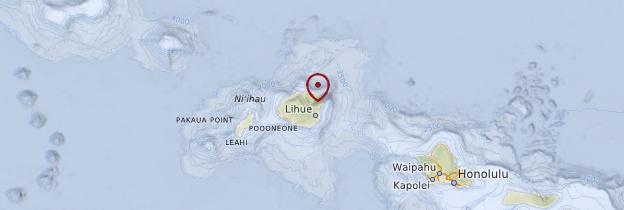 Carte Île de Kauai  - Hawaii