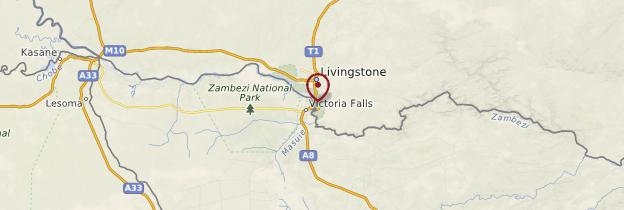Carte Chutes Victoria - Zimbabwe