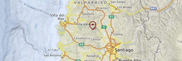 Carte Région de Santiago et Valparaíso - Chili