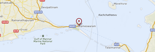 Carte Rameswaram - Inde