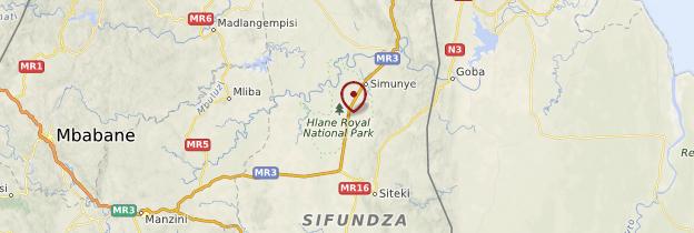 Carte Hlane Royal National Park - Swaziland