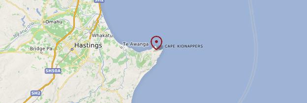 Carte Cap Kidnappers - Nouvelle-Zélande