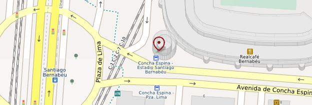 Carte Estadio Santiago Bernabéu (Stade du Real Madrid) - Madrid