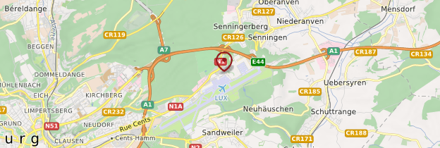 Carte Aéroport de Luxembourg - Luxembourg