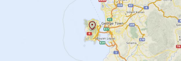 Carte Île de Penang (Pinang) - Malaisie