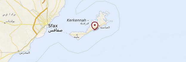 Carte Iles Kerkennah - Tunisie