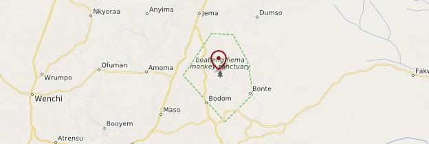 Carte Sanctuaire des singes de Boabeng-Fiema - Ghana