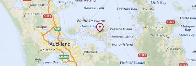 Carte Waiheke Island - Nouvelle-Zélande