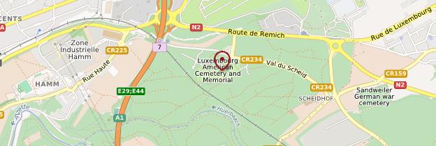 Carte Cimetière militaire américain - Luxembourg