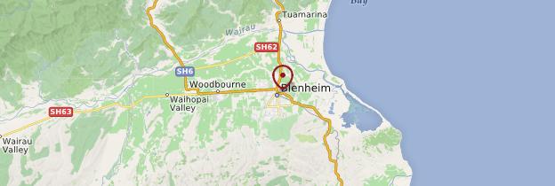 Carte Blenheim - Nouvelle-Zélande