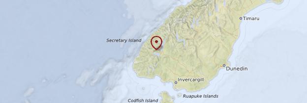 Carte Fiordland National Park - Nouvelle-Zélande