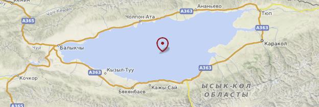 Carte Lac Issyk Kol - Kirghizistan
