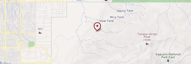 Carte Saguaro National Park - Parcs nationaux de l'Ouest américain