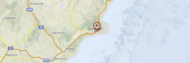 Carte Dunedin - Nouvelle-Zélande