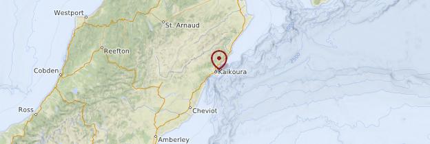 Carte Kaikoura - Nouvelle-Zélande