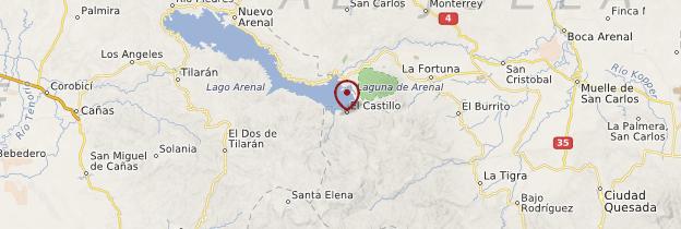 Carte Parc national du volcan Arenal - Costa Rica