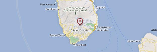 Carte Volcan de la Soufrière - Guadeloupe