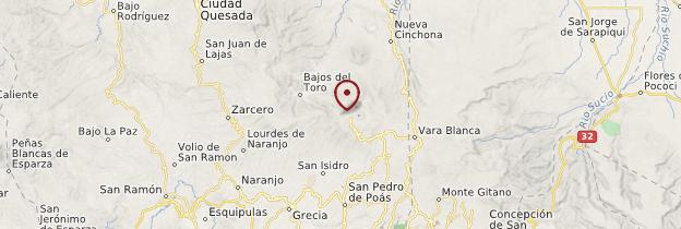 Carte Parc national du volcan Poás - Costa Rica