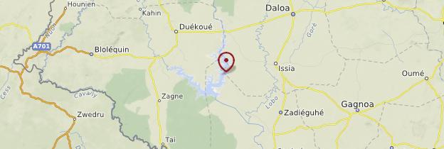 Carte Lac du Buyo - Côte d'Ivoire