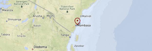 Carte Mombasa et la côte kenyane - Kenya