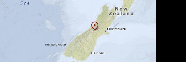 Carte Île du Sud - Nouvelle-Zélande