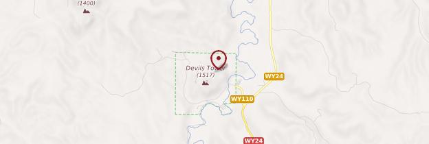 Carte Devil's Tower National Monument - Parcs nationaux de l'Ouest américain