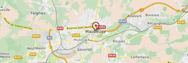Carte Maubeuge - Nord-Pas-de-Calais