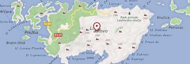 Carte Île de Lastovo - Croatie