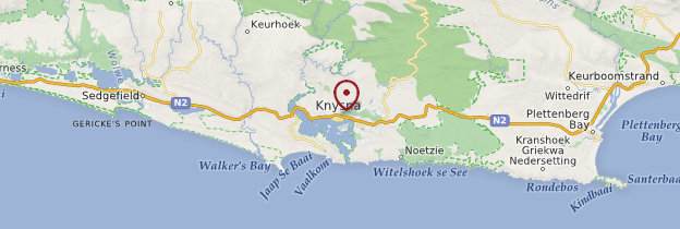 Carte Knysna - Afrique du Sud