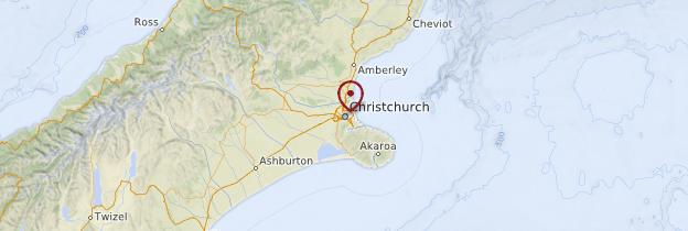 Carte Christchurch - Nouvelle-Zélande