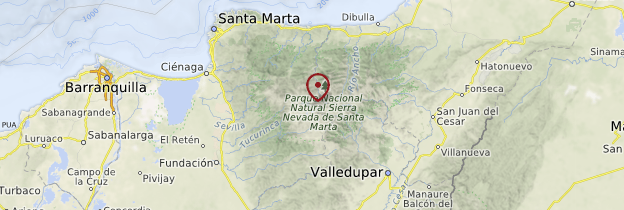 Carte Sierra Nevada de Santa Marta - Colombie