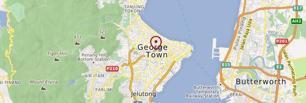 Carte George Town (île de Penang) - Malaisie