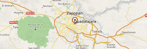 Carte Guadalajara et les villes coloniales - Mexique