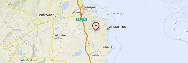 Carte Kairouan et le Sahel - Tunisie