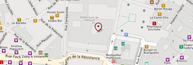 Carte Vieille ville - Montpellier